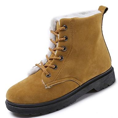 Mujer Zapatos PU Otoño / Invierno Botas de Combate Botas Talón de bloque Dedo redondo Botines / Hasta el Tobillo Negro S0QyJFY0e
