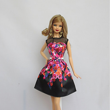 voordelige Poppenaccessoires-Poppenjurk Feest / Avond Voor Barbie Bloemen Flora Botanisch Zwart Polyesteri Kleding Voor voor meisjes Speelgoedpop
