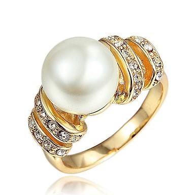 levne Dámské šperky-Dámské Band Ring Kubický zirkon 1 Stříbrná Zlatá Napodobenina perel Zirkon Pozlacené Circle Shape Tube Shape Geometric Shape Klasické Vintage Evropský Svatební Zásnuby Šperky Vlna