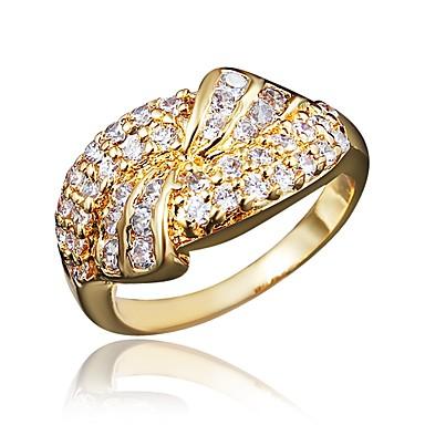 billige Motering-Dame Band Ring Kubisk Zirkonium 1 Sølv Gylden Zirkonium Gullbelagt Sølv Geometrisk Form Klassisk Vintage Europeisk Bryllup Engasjement Smykker Blad Formet Tusenfryd / Oversized