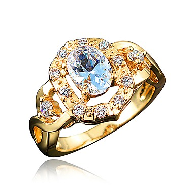 tanie Modne pierścionki-Damskie Obrączka Cyrkonia High End Crystal 1 Biały Czerwony Królewski błękit Cyrkon Pozłacany Koło Geometric Shape Klasyczny Vintage Europejskie Ślub Impreza Biżuteria Księżniczka Korona