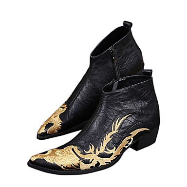 cheap Metal Pointed Toe Shoes-Men's Boots Cowboy Western Boots Work Boots Vintage / Chinoiserie Wedding Party & Evening Walking Shoes Nappa Leather Height-increasing Booties / Ankle Boots Black Fall / Winter