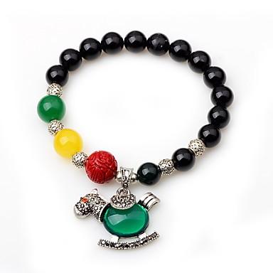 Γυναικεία Onyx Βραχιόλι με χάντρες Ζώο Φαρμακευτικός Αχάτης Βραχιόλι Κοσμήματα Μαύρο Για Δώρο Εξόδου
