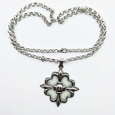 preiswerte Luxus Schmuck-Herrn Damen Pendant Halskette Retro leuchtend Metal Aleación Silber Modische Halsketten Schmuck 1 Für Zeremonie Karnival