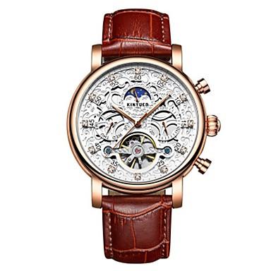 levne Pánské-Pánské Náramkové hodinky Swiss Automatické natahování 30 m Voděodolné Kalendář S dutým gravírováním Pravá kůže Kapela Analogové Luxus Módní Elegantní Hnědá - Zlatá Bílá Dva roky Životnost baterie