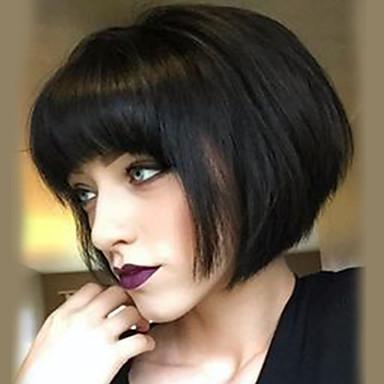 Ανθρώπινη Τρίχα Περούκα Μεσαίο Ίσιο Κούρεμα καρέ Ίσια Φυσική γραμμή των μαλλιών Μηχανοποίητο Γυναικεία Μαύρο Μεσαία Auburn Μπεζ Ξανθιά / Bleached Blonde 12 Ίντσες