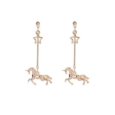 povoljno Modne naušnice-Žene Viseće naušnice Long Konj Unicorn dame Jednostavan Vintage Rock Naušnice Jewelry Zlato Za Izlasci Jabuka 2pcs