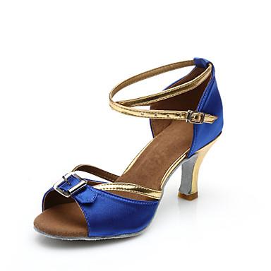 Γυναικεία Παπούτσια χορού λάτιν Σατέν Κούμπωμα Μπαρέτας Τακούνια Προσαρμοσμένο τακούνι Εξατομικευμένο Παπούτσια Χορού Μπλε / Εσωτερικό / Δέρμα