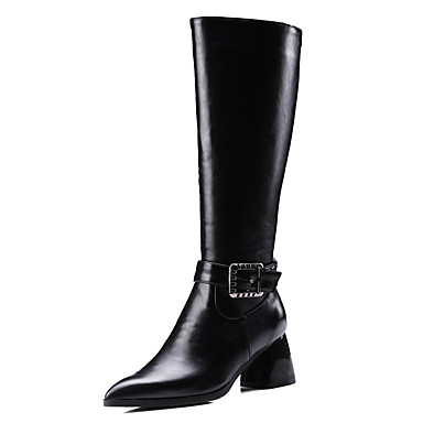 Women's Shoes PU Winter Fall Fashion Boots Combat Boots Riding Boots Boots Chunky Heel Pointed Toe Knee High Boots Buckle Office &