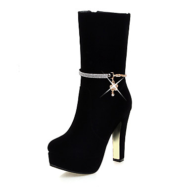 Women's Shoes Nubuck leather Winter Fall Fashion Boots Bootie Boots High Heel Round Toe Booties/Ankle Boots Mid-Calf Boots Rhinestone