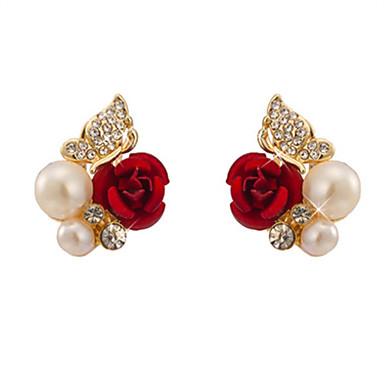 povoljno Modne naušnice-Žene Sitne naušnice Cvijet dame Imitacija bisera Imitacija dijamanta Naušnice Jewelry Crvena Za Dnevno Izlasci