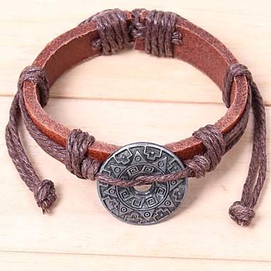 voordelige Herensieraden-Heren Lederen armbanden Armband Zon Aziatisch Klassiek Etnisch Leder Armband sieraden Zwart / Bruin Voor Ceremonie Carnaval