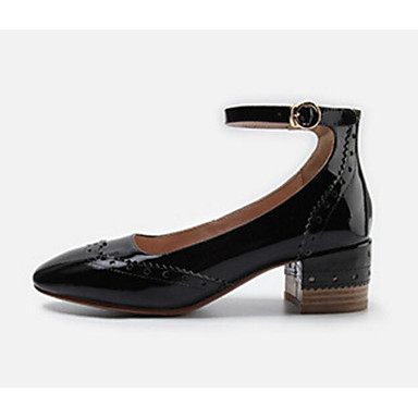 Mujer Zapatos Cuero Patentado Primavera / Otoño Confort Oxfords Tacón Cuadrado Negro / Almendra oDzy3zCJx
