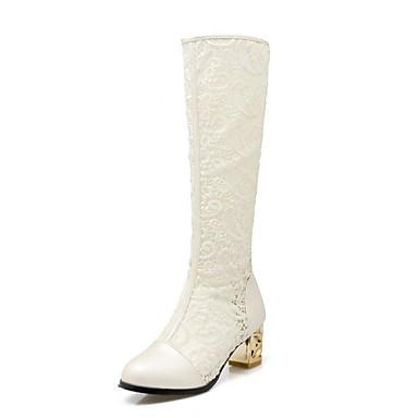 voordelige Dameslaarzen-Dames Laarzen Blokhak Ronde Teen Maatwerkmaterialen Kuitlaarzen Noviteit Zomer / Herfst Wit / Zwart / Beige