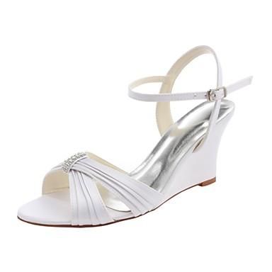 Γυναικεία Γαμήλια παπούτσια Τακούνι Σφήνα Ανοικτή μύτη Αγκράφα / Πλαϊνό Ντραπέ Ελαστικό Σατέν Βασική Γόβα Καλοκαίρι Λευκό / Πάρτι & Βραδινή Έξοδος