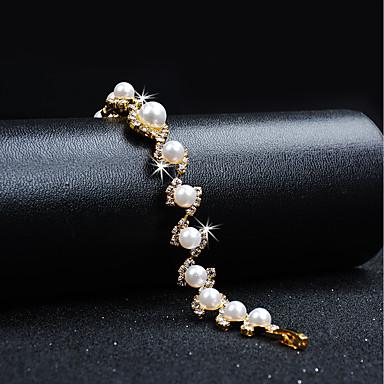 Mulheres Zircônia Cubica Pulseiras em Correntes e Ligações Vintage Elegante Pérola Pulseira de jóias Dourado Para Casamento Festa de Noite