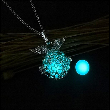cheap Luminous Jewelry-Women's Pendant Necklace Lockets Necklace Ladies Fashion Luminous Copper Orange Light Blue Light Green Necklace Jewelry One-piece Suit For Christmas Bar