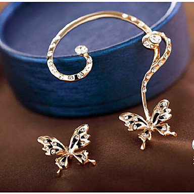 Women S Synthetic Diamond Stud Earrings Ear Cuff Imitation Erfly Sweet Gold For Party Daily 6462054 2018 8 99