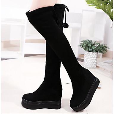 ca0edb6cbe Γυναικεία Παπούτσια Ύφασμα Φθινόπωρο   Χειμώνας Ανατομικό   Μοντέρνες  μπότες Μπότες Τακούνι Σφήνα Στρογγυλή Μύτη Μπότες πάνω από το Γόνατο Μαύρο  6431273 ...