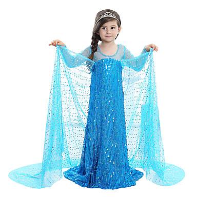 Πριγκίπισσα Παραμυθιού Elsa Φορέματα Φόρεμα κορίτσι λουλουδιών Παιδικά Κοριτσίστικα Γραμμή Α Ρούχο από μέσα Φορέματα Γενέθλια Χριστούγεννα Halloween Μασκάρεμα Γιορτές / Διακοπές Ελαστίνη Μπλε / Ροζ