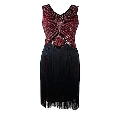 The Great Gatsby Τσάρλεστον 1920s Χρυσή δεκαετία του '20 Φανελάκι φόρεμα Κοκτέιλ Φόρεμα Γυναικεία Πούλιες Φούντα Στολές Μαύρο / Κόκκινο Πεπαλαιωμένο Cosplay Πάρτι Χοροεσπερίδα Αμάνικο Κοντό / Μίνι