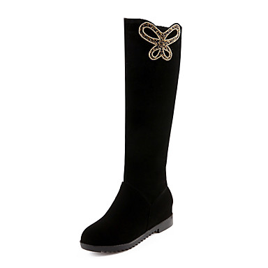 0e04dc16ddc4 Women s Velvet   Fleece Fall   Winter Fashion Boots Boots Flat Heel Round  Toe Knee High Boots   Over The Knee Boots Rhinestone Black   Party    Evening ...