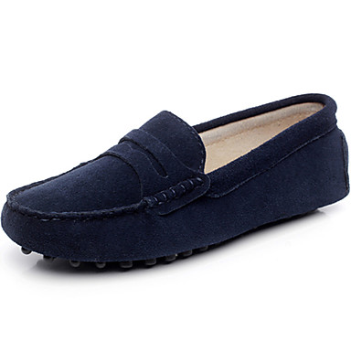 Women's Shoes Leather Spring Summer Comfort Loafers & Slip-Ons Flat Heel Round Toe Closed Toe Casual Outdoor Gray Navy Blue Royal Blue