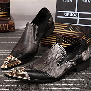Homens Sapatos formais Pele Napa Primavera / Outono Oxfords Preto e Prateado / Festas & Noite / Festas & Noite / Sapatos Confortáveis