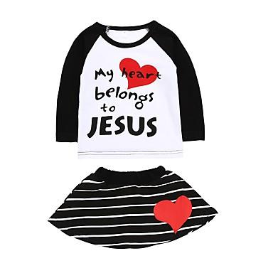 povoljno Odjeća za bebe-Dijete Djevojčice Ležerne prilike / Punk & Gotika Rođendan / Dnevno Prugasti uzorak Dugih rukava Regularna Normalne dužine Pamuk Komplet odjeće Obala / Dijete koje je tek prohodalo