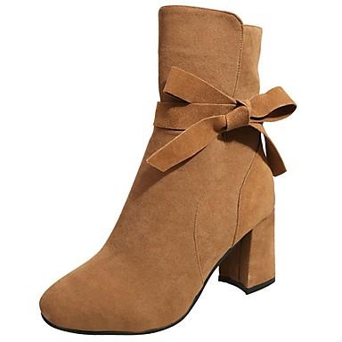 Mujer Zapatos Cuero de Napa Otoño invierno Botas de Combate Botas Tacón Cuadrado Dedo redondo Mitad de Gemelo Negro / Marrón ITO3bTrE2