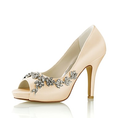 billige Utvalgte tilbud-Dame bryllup sko Stiletthæl Titte Tå Krystall Elastisk stoff Basispumps Vår / Sommer Marineblå / Lysebrun / Krystall / Fest / aften / EU42