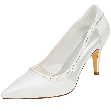 Γυναικεία Γαμήλια παπούτσια Τακούνι Στιλέτο Μυτερή Μύτη Κρυσταλλάκια Ελαστικό ύφασμα Βασική Γόβα Άνοιξη / Καλοκαίρι Κρύσταλλο / Πάρτι & Βραδινή Έξοδος