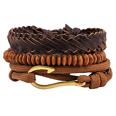 voordelige Herensieraden-Heren Dames Kralenarmband Wikkelarmbanden Lederen armbanden Golf Gothic Modieus Hip-hop Puinen Armband sieraden Bruin Voor Dagelijks Avond Feest