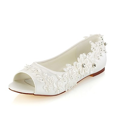 Γυναικεία Γαμήλια παπούτσια Επίπεδο Τακούνι Ανοικτή Μύτη Κρυσταλλάκια / Πέρλες Ελαστικό Σατέν Βασική Γόβα Άνοιξη / Καλοκαίρι Κρύσταλλο / Πάρτι & Βραδινή Έξοδος