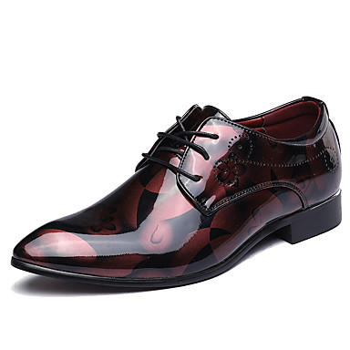 cheap Printed Shoes-Men's Oxfords Formal Shoes Printed Oxfords Fashion Boots Wedding Party & Evening Office & Career Walking Shoes Microfiber Black / Red / Blue Spring / Fall / Split Joint / EU40