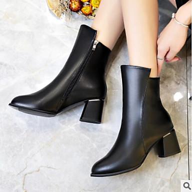 Mujer Zapatos PU Primavera Confort Tacones Tacón Cuadrado Negro / Wine iBy8Kk1n