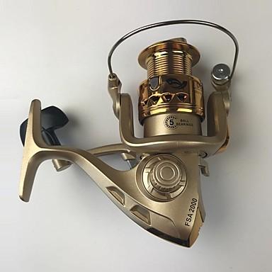 Molinetes de Pesca Molinetes Rotativos 5.2:1 Relação de Engrenagem+5 Rolamentos Orientação da mão Trocável Pesca de Mar / Isco de Arremesso / Pesca no Gelo - FSA2000XBJ528 / Rotação / Pesca de Carpa