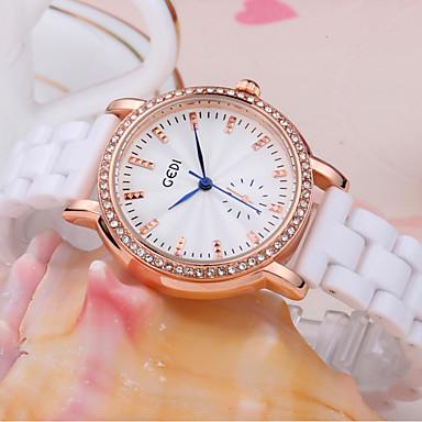 levne Pánské-Dámské Náramkové hodinky Maketa Diamant Hodiny Křemenný Keramika Bílá 30 m Voděodolné imitace Diamond Analogové Třpyt Na běžné nošení Módní Elegantní - Stříbrná Růžové zlato