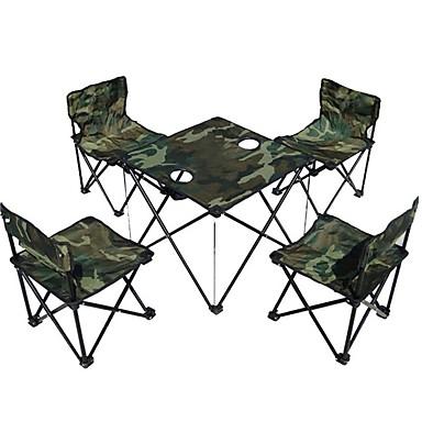 Camping mesa dobrável com cadeiras Portátil Dobrável Aço Liga 4 cadeiras 1 mesa para 3-4 Pessoas Pesca Campismo Outono Primavera Verde Tropa