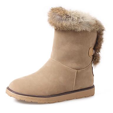 Mujer Zapatos Cuero Invierno Botas de nieve Botas Tacón Plano Dedo redondo Beige / Gris / Azul QYpglxU