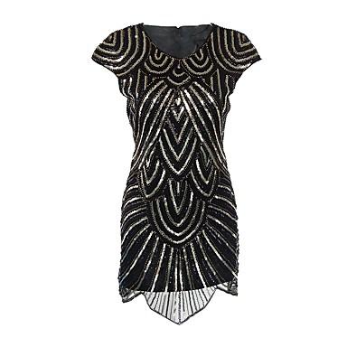 The Great Gatsby Τσάρλεστον 1920s Χρυσή δεκαετία του '20 Δροσμός 20ετών Φανελάκι φόρεμα Κοκτέιλ Φόρεμα Γυναικεία Πούλιες Στολές Μαύρο Πεπαλαιωμένο Cosplay Πάρτι Καλωσόρισμα Χοροεσπερίδα Κοντομάνικο