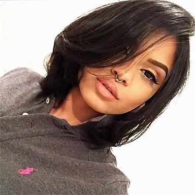 Φυσικά μαλλιά Δαντέλα Μπροστά Περούκα Κούρεμα καρέ στυλ Βραζιλιάνικη Κυματιστό Περούκα 130% Πυκνότητα μαλλιών με τα μαλλιά μωρών Φυσική γραμμή των μαλλιών 100% παρθένα Αμεταποίητος Γυναικεία Κοντό