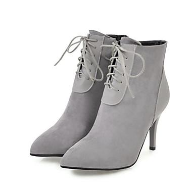 Mujer Zapatos Encaje / Ante Otoño invierno Botas de Moda Botas Tacón Cuadrado Dedo redondo Botines / Hasta el Tobillo Beige / Amarillo / Rojo Magasin De Vente gbn1qAwMe