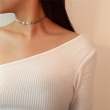 levne Dámské šperky-Dámské Obojkové náhrdelníky Přívěšky Foxtail řetězec Řetěz rybí kosti Leaf Shape dámy Jednoduchý Sladký Napodobenina perel Slitina Zlatá Stříbrná Náhrdelníky Šperky Pro Párty Formální