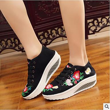 Mujer Zapatos Punto Primavera Confort Botas Tacón Plano Blanco / Negro utWeS9kaRG