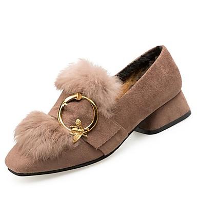 Mujer Zapatos Cuero Nobuck Primavera / Otoño Confort Zapatos de taco bajo y Slip-On Tacón Cuadrado Negro 1TBavVT