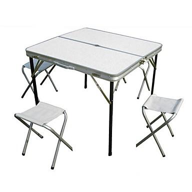 Camping Πτυσσόμενο τραπέζι με σκαμπό Πτυσσόμενο Αναδιπλούμενο Κράμα αλουμινίου 4 Σκαμπό 1 Πίνακας για 3-4 άτομα Κατασκήνωση Φθινόπωρο Άνοιξη Ασημί