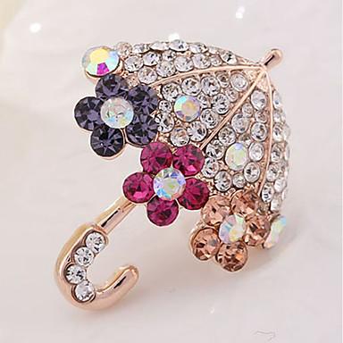 levne Dámské šperky-Dámské Brože Deštník dámy Klasické Umělé diamanty Brož Šperky Zlatá Pro Denní