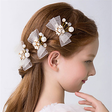 povoljno Party pokrivala za glavu-Kristal / Imitacija bisera Cvijeće / Ukosnica / Kose kose s Mašnica / Scattered Bead Floral Motif Style 3 Vjenčanje / Zabava / večer Glava