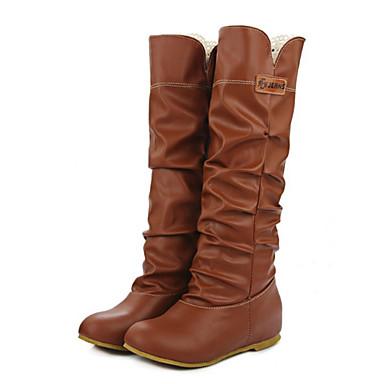 Mujer Zapatos PU Otoño / Invierno Confort / Innovador / Botas de Moda Botas Tacón Plano Dedo redondo Mitad de Gemelo Con Cordón Negro / ltImFh